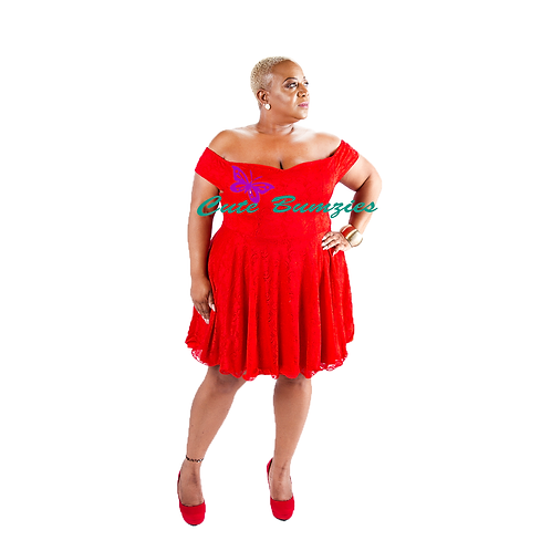 Plus Size RED OFF SHOULDER LACE FLARED DRESS