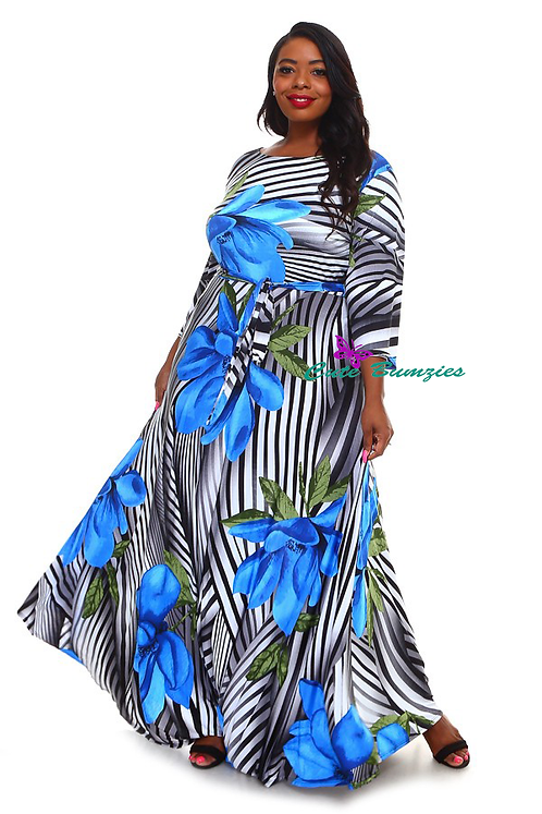 Plus Size 3/4 Sleeve Maxi Dress with Blue Flower