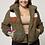 Thumbnail: Plus Size Sherpa Fur Colorblock Olive Jacket