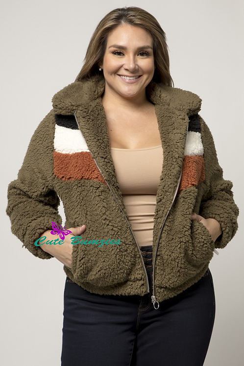 Plus Size Sherpa Fur Colorblock Olive Jacket