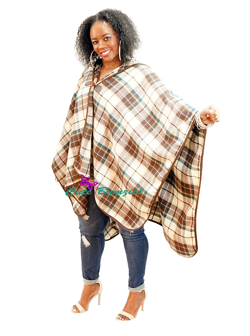Plus Size Toggle Closed Brown Plaid Blanket Shawl Poncho With Hood
