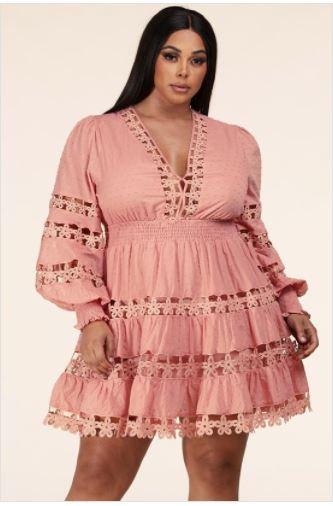 Mauve Plus Size Mini Dress