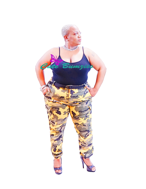 Plus Size Yellow Camo Belted Cargo Jogger Pants