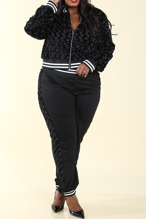 Plus Size Fur Black Track Jacket & Pants Set