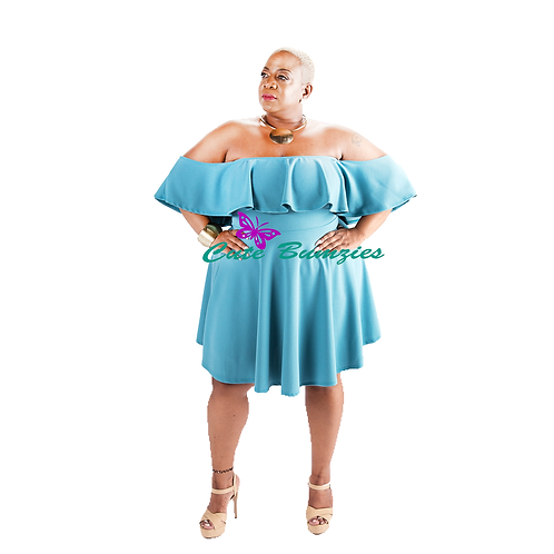 Plus Size Teal Ruffle Off Shoulder Flared Dress