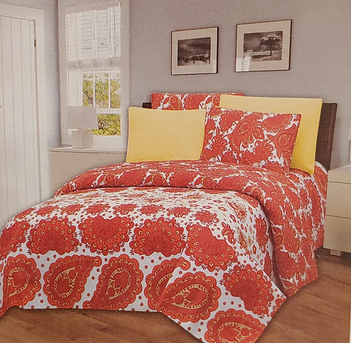 Glory Home Queen Sheet Set 1800 Series, Red and White Print- Wrinkle Free