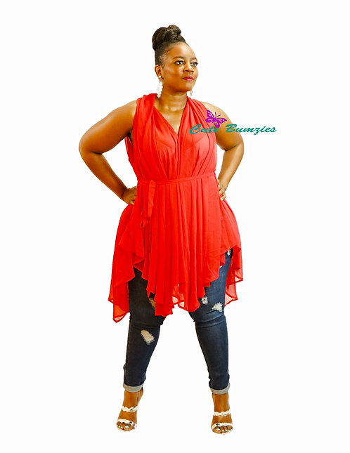 Plus Size Red blouse in delicate see-through chiffon bodice