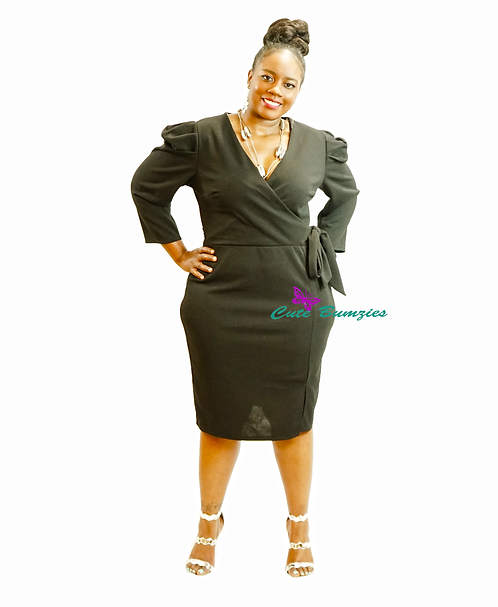 Plus Size Black dress featuring long sleeves with puffed shoulders