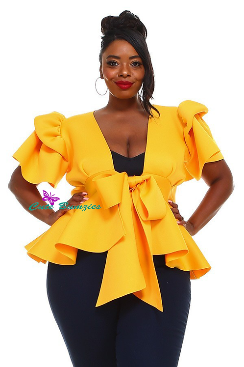 Plus Size Peplum Top with Front Tie and Ruffle Sleeves in Yellow