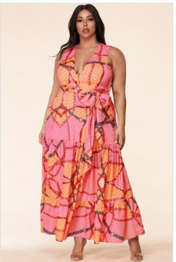 New Arrival - Plus Size Pink Mix Print Sleeveless Maxi Dress
