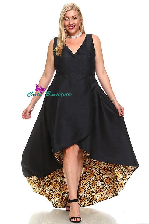 FINAL SALE - Plus Size Maxi dress with cheetah print lining