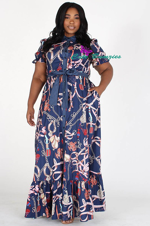 New Arrival - Plus Size Printed Short Sleeve A-Line Navy Maxi Dress