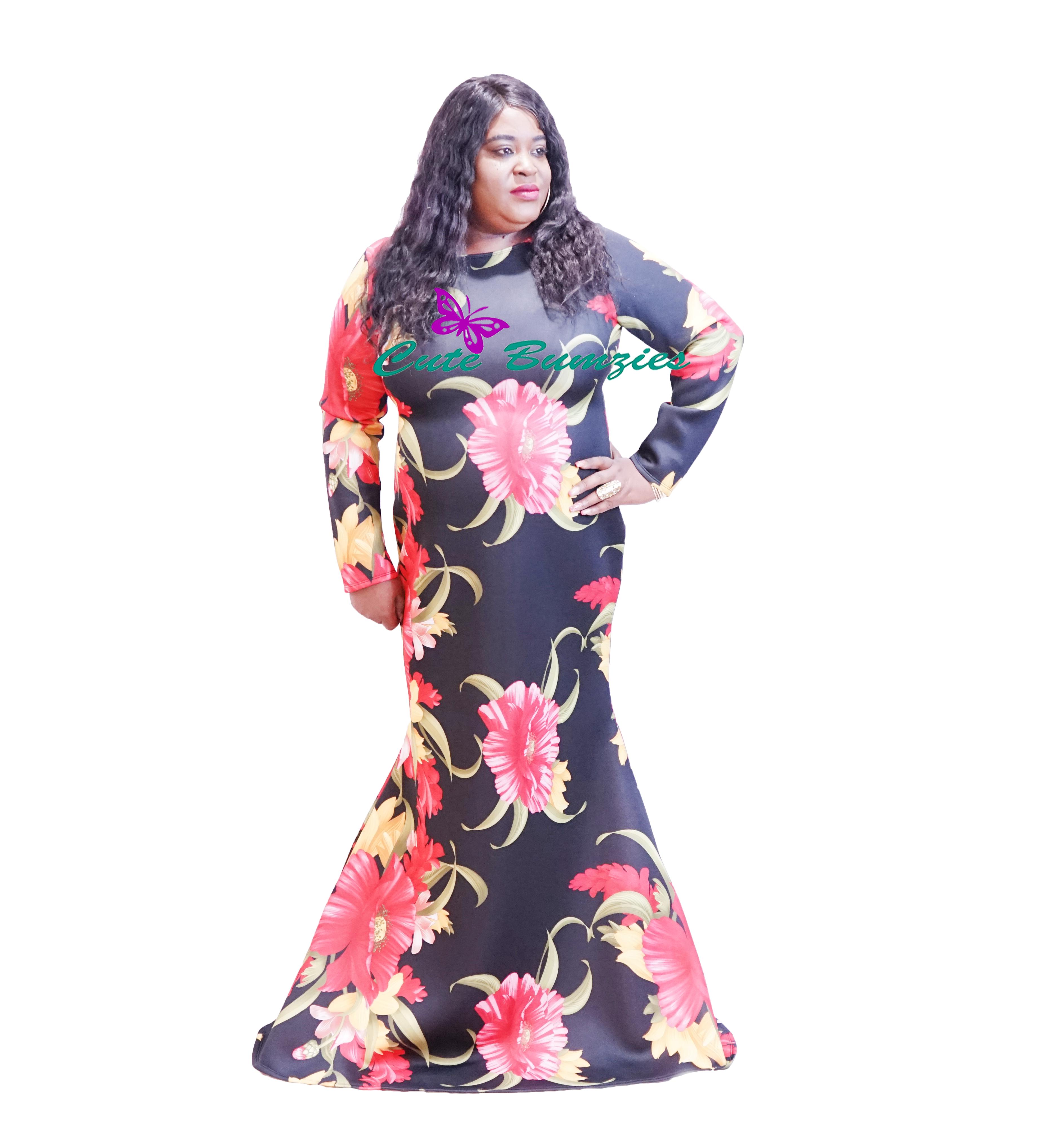 FINAL SALE - Plus Size Floral Long Sleeve Mermaid Maxi Dress