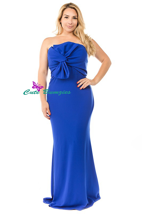 Plus Size Blue knot front detailed strapless mermaid dress
