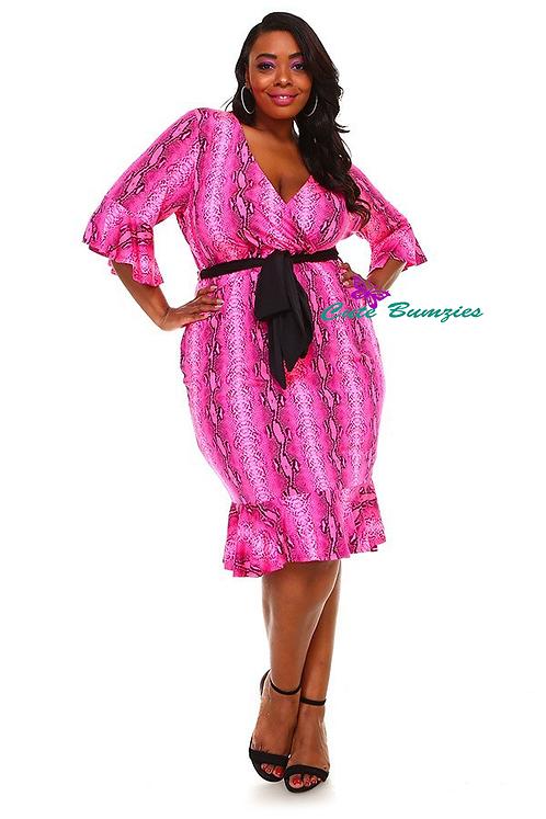 Plus size Fuchsia Dress with Flare Hem 4XL-6XL