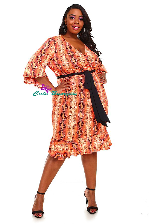 Plus Size Orange Dress with Flare Hem 4XL-6XL