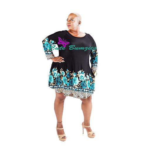 FINAL SALE - Plus Size 3/4 SLEEVES FLORAL LEOPARD PRINT POCKET DRESS