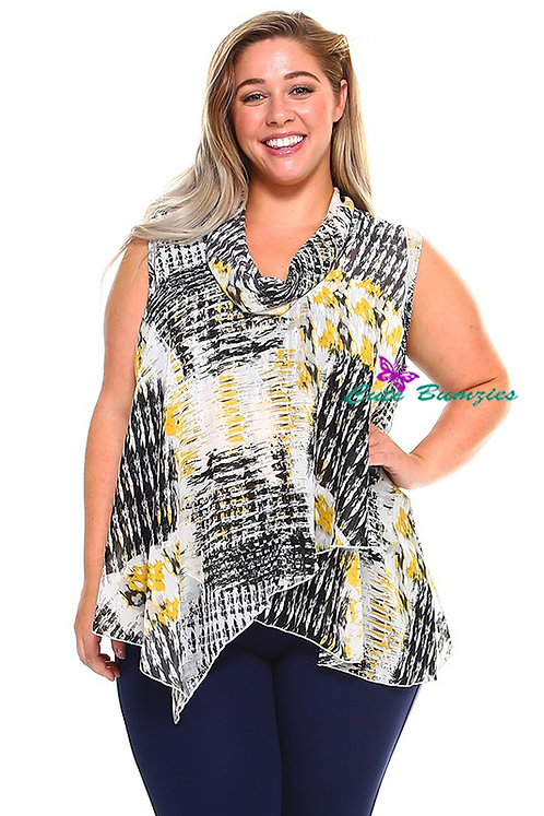 PLUS SIZE PRINT SLEEVELESS BLOUSE WITH ATTACHED SCARF 4XL- 6XL