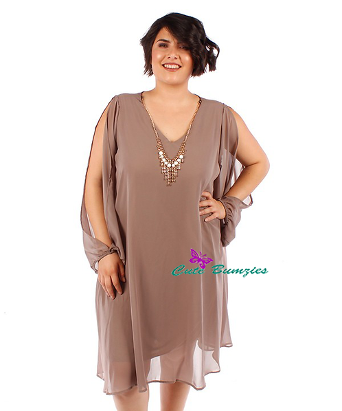Plus Size Mocha Tunic Dress With Slit Sleeves 4XL-6XL