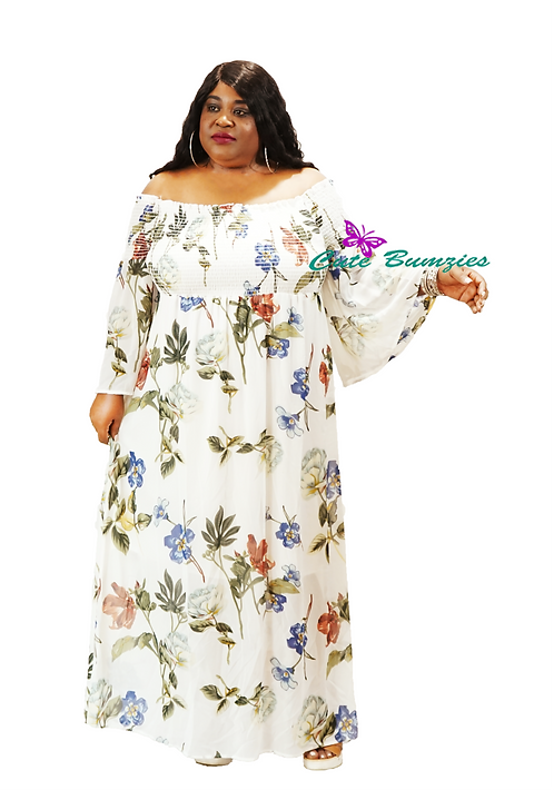 Plus Multi Colored Floral Maxi Off Shoulder L/Bell Sleeve Dress