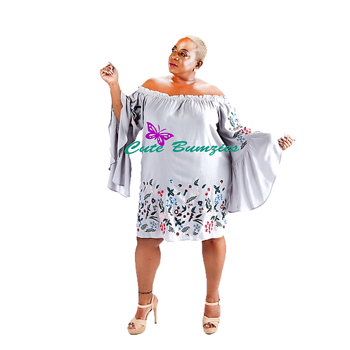 FINAL SALE - Plus Size OFF SHOULDER FLORAL EMBROIDERED BELL SLEEVE DRESS