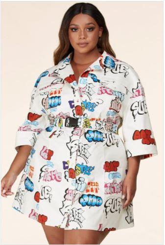 Urban Chic Graffiti Print Plus Size Mini Dress