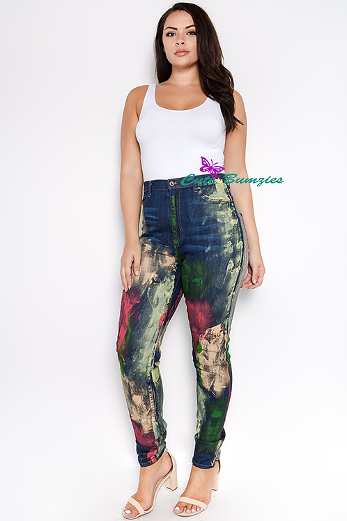 Trendy Plus Size High Rise Skinny Jeans w/ Paint Splash