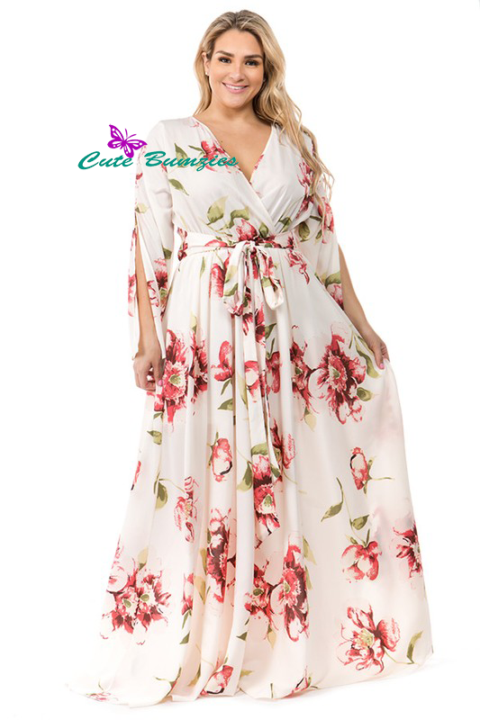 New Arrival - Plus Size Ivory Floral print, a-line, maxi dress