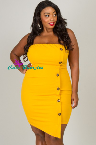 Plus Size Mustard Tube Dress With Side Button Detail