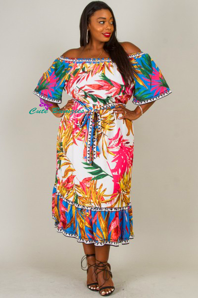 Plus Size Multi-Colored Off The Shoulder Long Floral Dress
