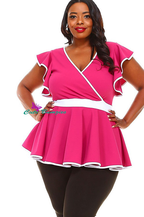 Plus Size Solid long body top in a fitted style, ruffle trim and peplum