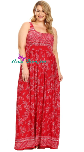 Plus Size Red Boho chic empire-waisted maxi dress