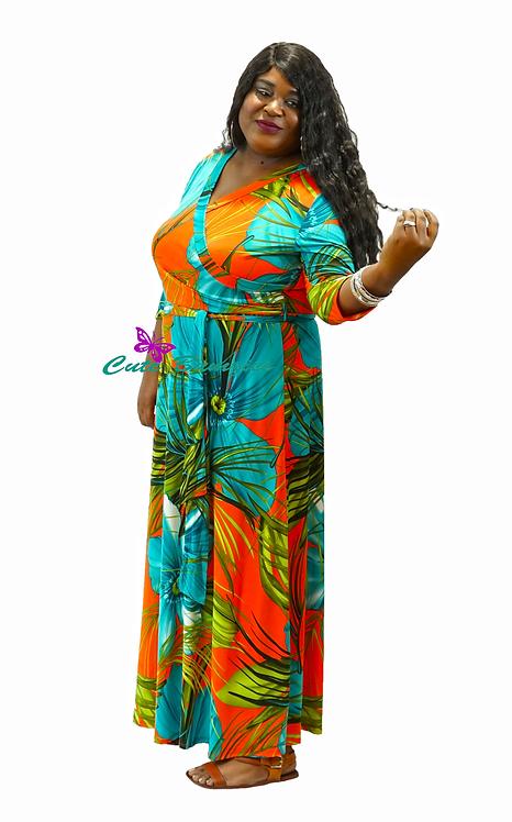 Plus size multi color floral print maxi dress with waist tie