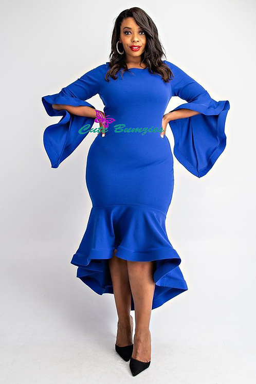 New Arrival - Plus Size - Royal Blue, Ruffle detailed 3/4 sleeve midi dress