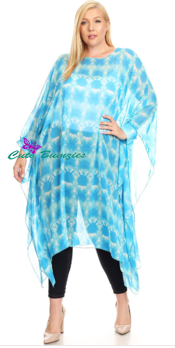 Plus Size Blue Sheer Lightweight Long Sleeve Top