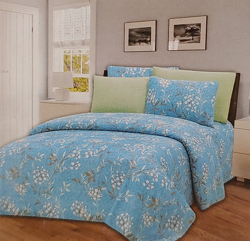 Glory Home Queen Sheet Set 1800 Series with white floral- Wrinkle Free