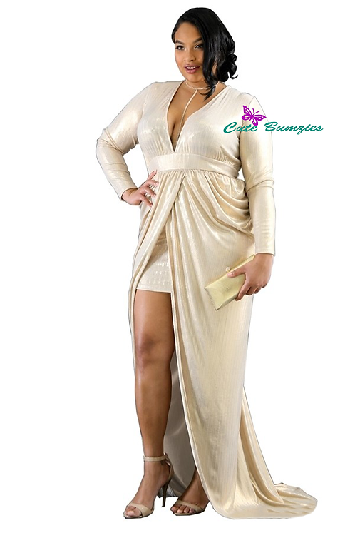 Plus Size Gold maxi dress with sheer, stretchy fabric