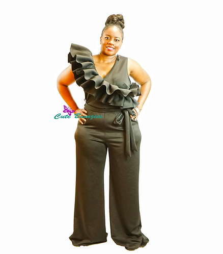 Plus Size Black Jumpsuit that features front and back ruffles