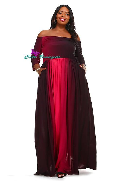 Plus Size Red and Black ombre print super venezia