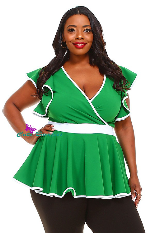 Plus Size Solid green long body top in a fitted style, ruffle trim and peplum