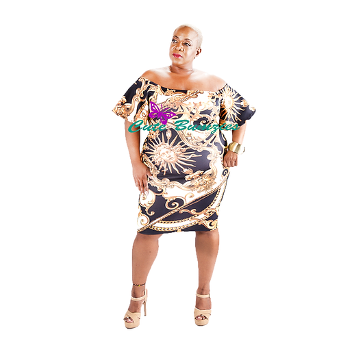 FINAL SALE - Plus Size Chain print off the shoulder bodycon dress
