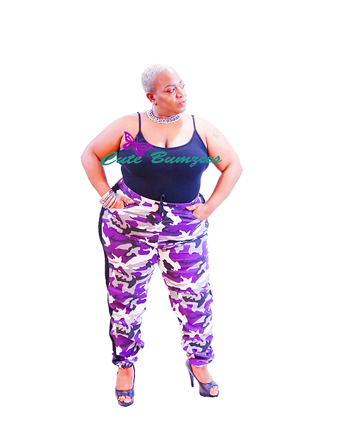 Plus Size Purple Camo Belted Cargo Jogger Pants
