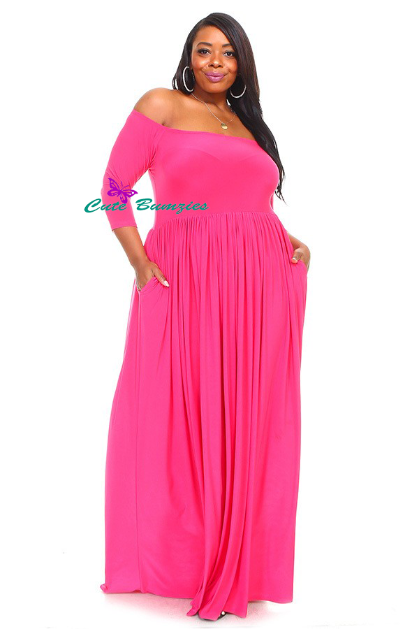 New Arrival Plus Size Fuchsia off shoulder maxi dress with 3/4 sleeves  4XL-6XL