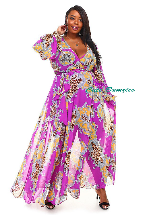 Plus Size purple wrapped maxi dress in a fit and flare style