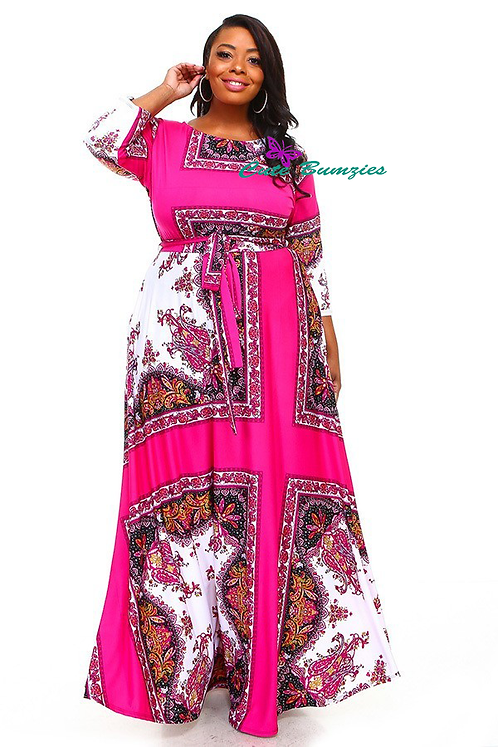 Plus Size Multi-Color Fuchsia 3/4 Sleeve Maxi Dress 4XL-6XL