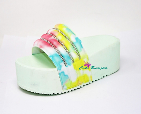 Mint Green Tie-Dye Rhinestone Platform Sandals