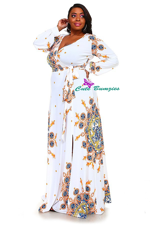 Plus size multi-color floral print long sleeve wrapped maxi dress