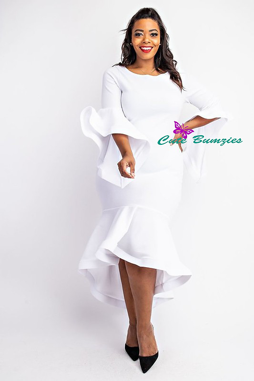 New Arrival -Plus Size - White, Ruffle detailed 3/4 sleeve midi dress