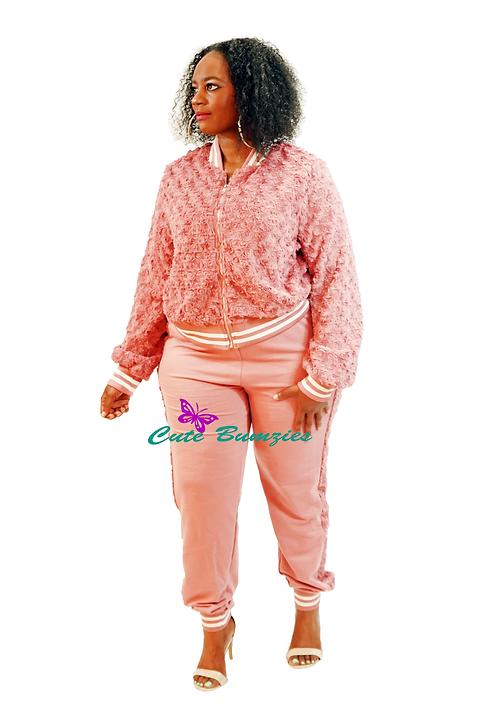 Plus Size Fur Mauve Track Jacket & Pants Set