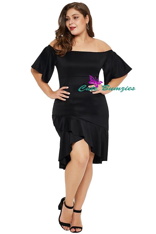 Black Off Shoulder Plus Size Dress with Ruffles